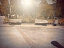 В осени Басня фантазии в парке с сценой восхода солнца стоковое фото