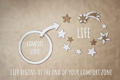 Вдохновляющая цитата и поощрение для того чтобы покинуть ваша зона комфорта стоковые изображения rf