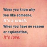 Вдохновляющая цитата мотировать о влюбленности на старой бумаге Стоковые Изображения RF