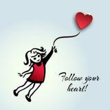 Вдохновляющая цитата о жизни и влюбленности Следовать вашим сердцем! Вручите d Стоковые Фотографии RF