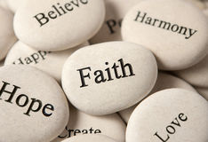 Вдохновляющие камни - вера стоковое фото rf