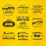 Вдохновляющий и ободряющий дизайн вектора цитаты Стоковые Фото