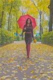 В парке девушка с зонтиком и листьями в осени Стоковые Фото