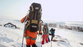 В расстоянии покрытые снег прогулки полей и группа в составе путешественники, выходя глубокие следы ноги в снег акции видеоматериалы
