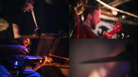 4 в 1 - рок-концерт Большое представление Гитаристы и барабанщик сток-видео