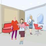 В салоне парикмахерских услуг иллюстрация вектора