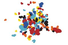 В стиле фанк хаос Confetti сердец иллюстрация штока