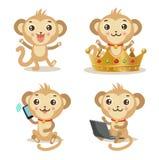 В стиле фанк обезьяна Иллюстрация животного вектора Милые изображения обезьяны Стоковые Изображения RF