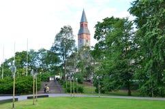 В улицах красивого европейского города Хельсинки - стоковое фото