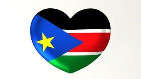 в форме Сердц влюбленность южный Судан иллюстрации i флага 3D иллюстрация штока