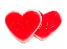2 в форме сердц конфеты изолированной на белизне Стоковые Фотографии RF
