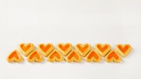 в форме Сердц печенья с вареньем Стоковые Изображения