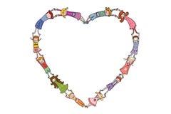 в форме Сердц рамка детей Иллюстрация штока