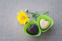 2 в форме сердц шоколада Стоковая Фотография