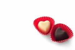 2 в форме сердц шоколада Стоковое Изображение RF