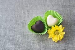 2 в форме сердц шоколада Стоковая Фотография RF