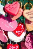 в форме Сердц padlocks, влюбленность символа и единение Стоковая Фотография RF