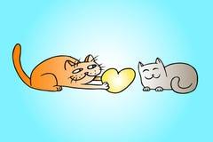 Влюбленнаяся шаржем иллюстрация вектора котов Стоковое Изображение RF