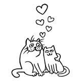 Влюбленнаяся шаржем иллюстрация вектора котов Стоковое Изображение