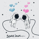 Влюбленность астронавтов мальчика и девушки иллюстрация штока