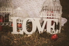 Влюбленность - деревянная надпись для wedding Стоковые Фотографии RF