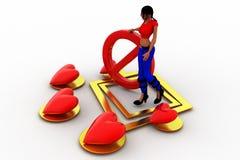 влюбленность женщин 3d - остановите ее концепция Стоковое Изображение