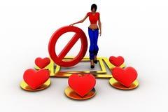 влюбленность женщин 3d - остановите ее концепция Стоковые Изображения RF