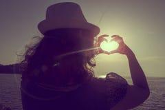 Влюбленность захода солнца Стоковое фото RF