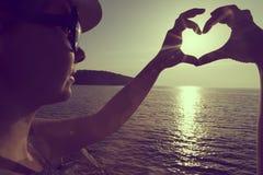 Влюбленность захода солнца Стоковое Изображение
