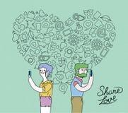 Влюбленность интернета на социальном дизайне концепции средств массовой информации бесплатная иллюстрация