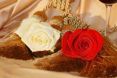 Влюбленность и розы, конец вверх Стоковая Фотография RF