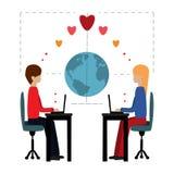 Влюбленность иллюстрации на линии Стоковое Изображение