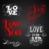 Влюбленность - комплект каллиграфических элементов иллюстрация штока