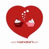 Влюбленность корабля на день валентинки Стоковое Фото
