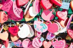Влюбленность навсегда, в форме сердц padlocks Стоковые Изображения RF