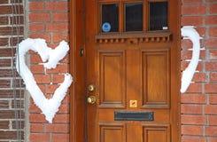 Влюбленность на двери стоковое фото rf