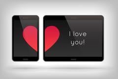 Влюбленность на телефоне Стоковое фото RF