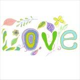 Влюбленность на цветочном узоре, влюбленность слова Стоковая Фотография