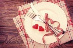 Влюбленность дня валентинки красивая Романтичный обедающий Стоковая Фотография RF