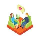 Влюбленность пар в кресле 3d Isometry Стоковое Изображение RF