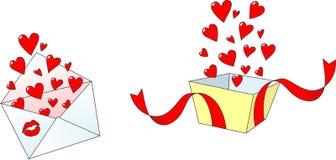 влюбленность письма сердца габарита иллюстрация штока