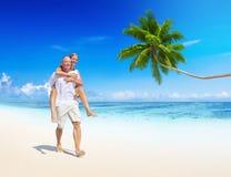 Влюбленность пляжа пар идя ослабляет концепцию Стоковая Фотография RF