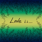 Влюбленность рамки листьев дерева иллюстрация вектора Стоковое Фото