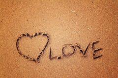 Влюбленность сердца на песке Стоковая Фотография RF