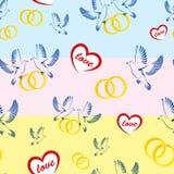 Влюбленность сердца обручальных колец голубей картины Стоковые Фото