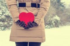 Влюбленность сердца снега Стоковое фото RF