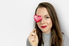 Влюбленность сердца счастья женщины усмехаясь Romance Стоковые Изображения RF