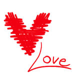 Влюбленность сердца эскиза на белой предпосылке Стоковое Изображение RF