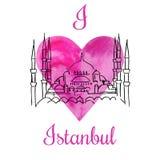 Влюбленность Стамбул карточки i вектора Иллюстрация штока