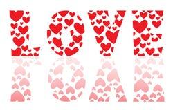 Влюбленность слова много сердцами Стоковое Изображение